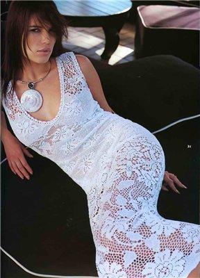 Филейное вязание со схемами платья