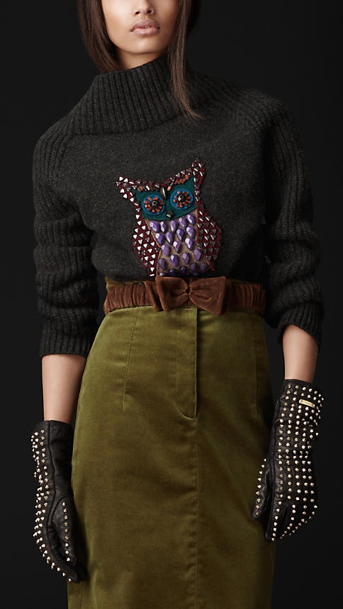 вязаный свитер с совой от burberry