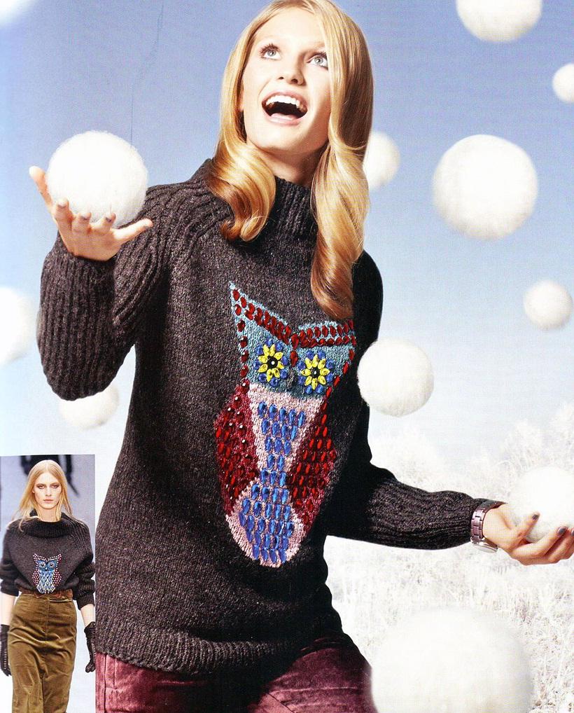 вязаный свитер с совой из журнала