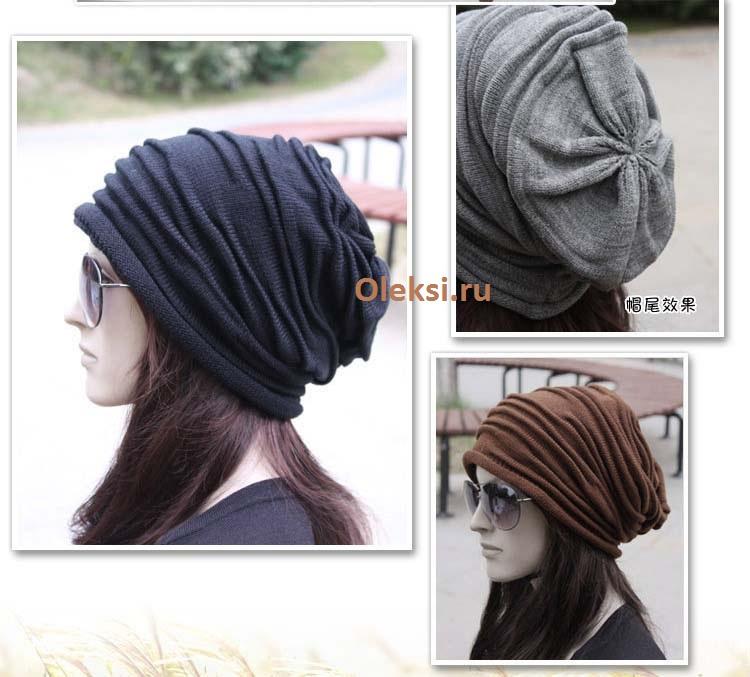 женская шапка со складками