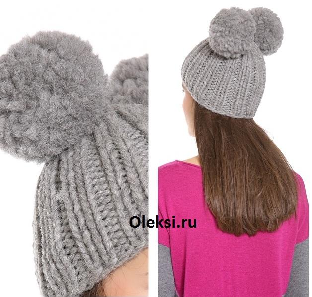 шапка с двумя помпонами связанная спицами вязание на Oleksiru