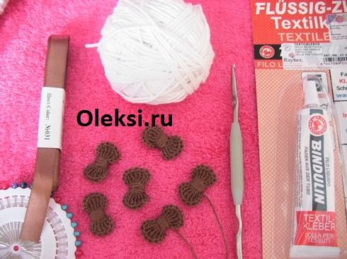 материалы и инструменты для вязания пасхальной корзинки