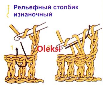 рельефные изнаночные столбики