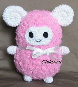вязаная розовая овечка 2015