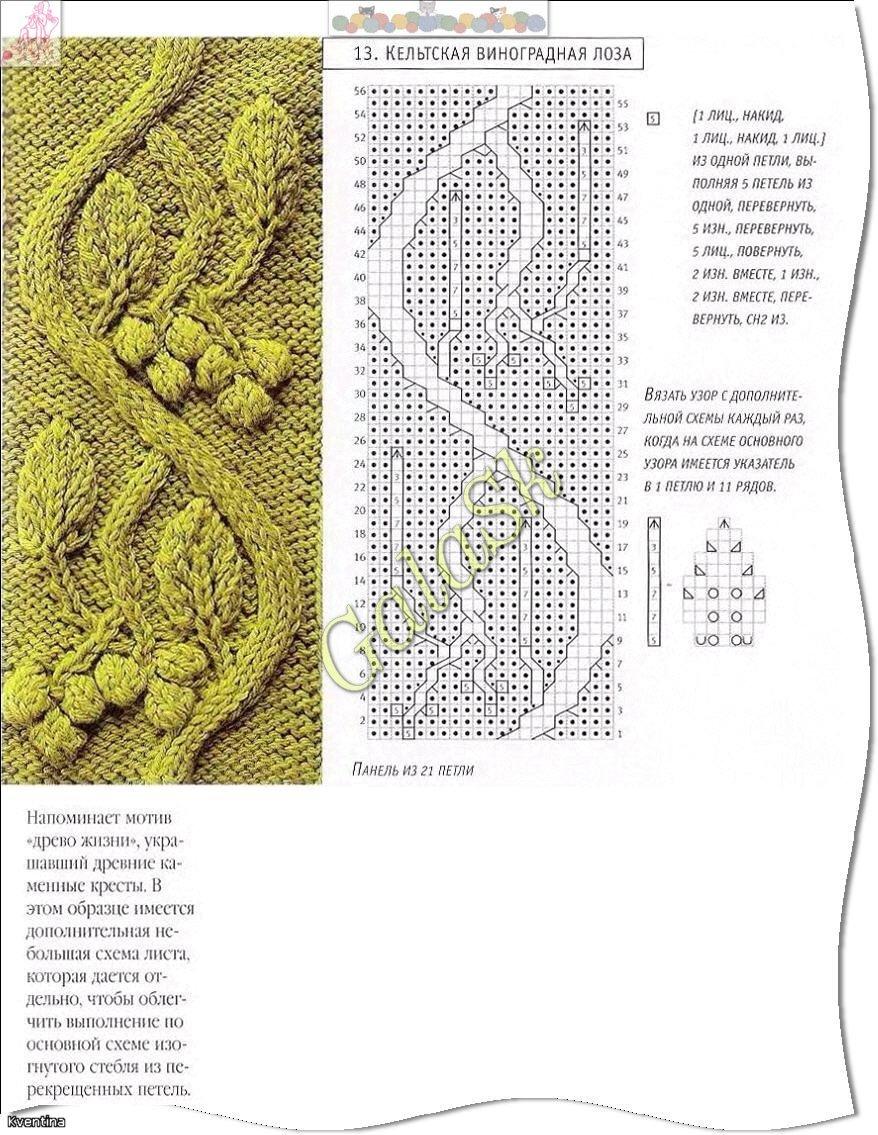 вязание спицами схемы узоров листики
