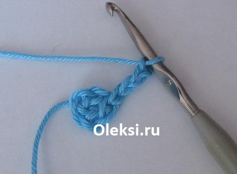 петли подъема для вязания первой стороны бантика