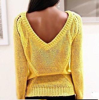 желтый свитер с косами вид спинки