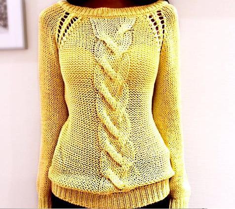желтый летний свитер с косами