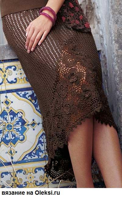 ирландское вязание юбка с цветочными фрагментами