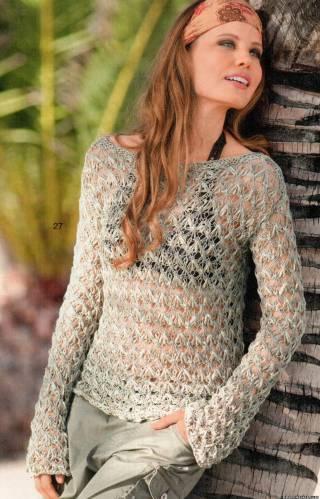 летний вязаный свитер цвета хаки
