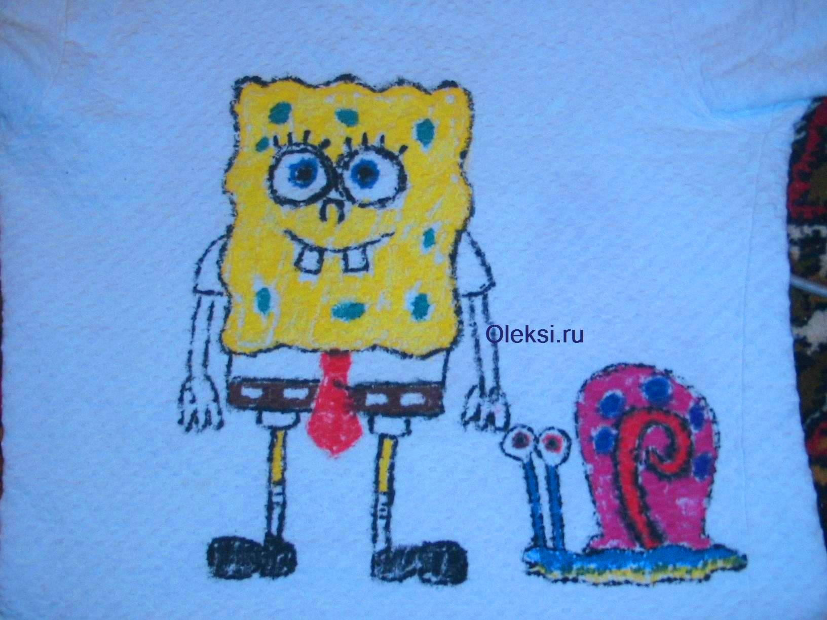 губка боб и герри на майке нарисоаные фломстерами для ткани