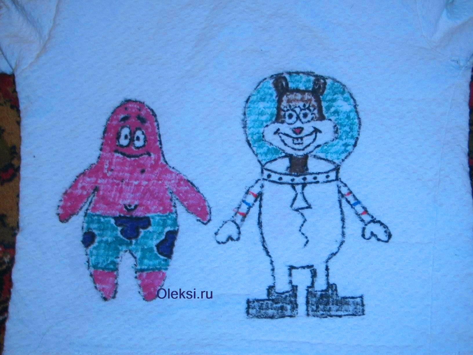 патрик и сенди нарисованные на майке фломастерами для ткани
