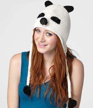 модная вязаная шапка панда