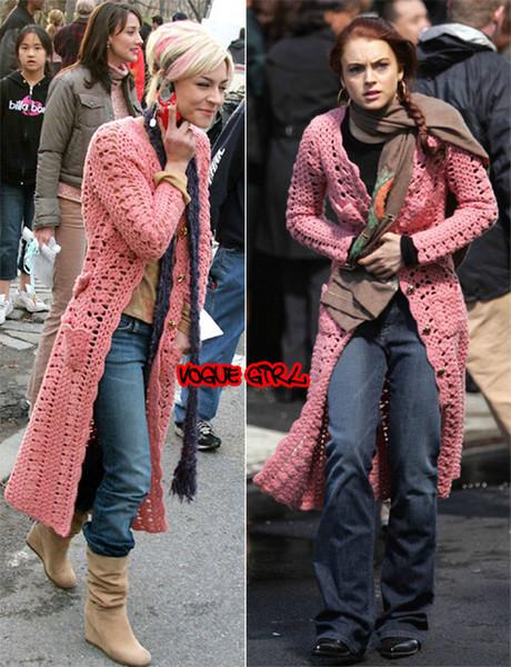Розовое пальто крючком.  4.