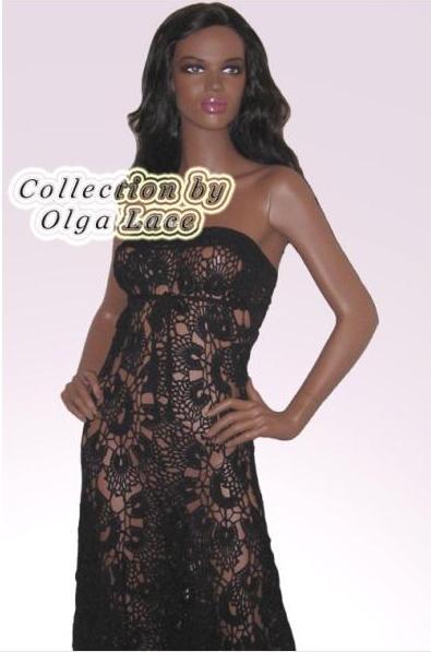 ажурное черное вязаное платье от ольги лэйс