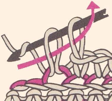 провязывание столбика за заднюю дужку