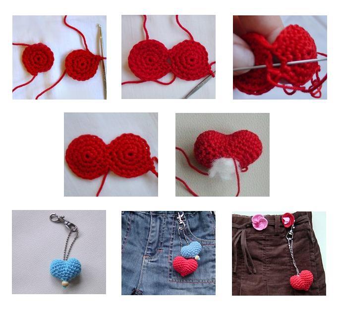 Идею вязания таких сердечек