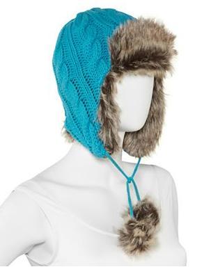 вязаная шапка ушанка с мехом