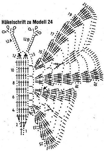 вязаная бабочка схема вязания