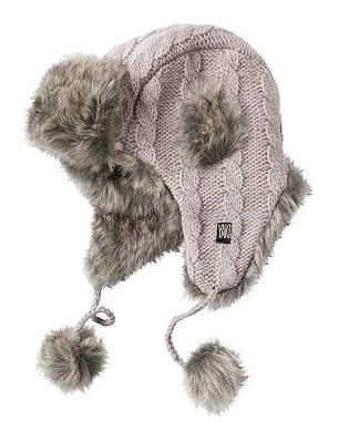 вязаная шапка ушанка с косами и мехом